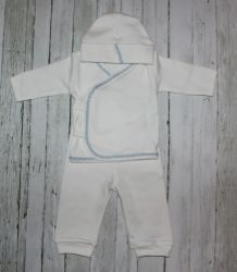 White & Baby Blue Trim 3 Piece Layette Set