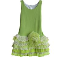 Tiny Dancer Green Sleeveless Drop Waist Dress