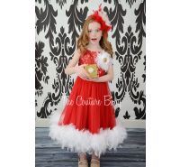 Red Sparkle Feather Dress
