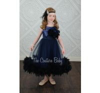 Navy SparkleTulle & Sequin Feather Dress