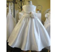 White Or Ivory Flower Girl Classic Bow Dress