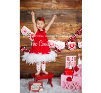 Red & White Couture Feather Dress