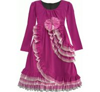 Hawaiian Plumeria Magenta Long Sleeve Empire Waist Dress Isobella & Chloe
