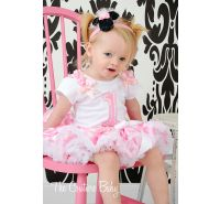 """I'm One"" Pink & White Polka Dot Minnie Pettiskirt Set"