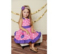 Birthday Girl Barney Personalized Dinosaur Applique Ruffle Dress
