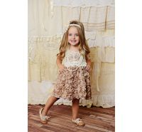 Isabella Mocha & Cream Crochet Ruffle Dress