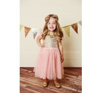 Golden Sunset Peach Sequin & Tulle Dress