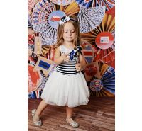 Navy & White Sailor Stripe Tulle Dress