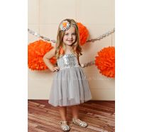 Disco Party Silver & Orange Sequin Tulle Dress