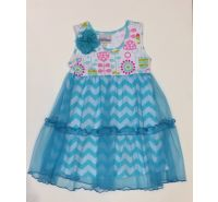 Aqua Chevron Flap Happy Dress
