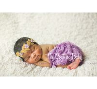 Gold & Lavender Rose Beaded Halo Headband
