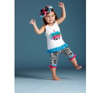 Wild Child Zebra Tunic Capri 2 pc Set