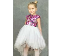 Magenta Sparkle High Low Princess Dress  Halabaloo