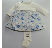 Daphne Ivory & Blue Cardigan Dress & Tights Emile Et Rose
