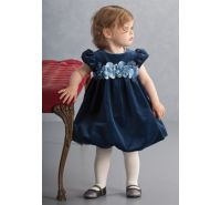 Winter Blooms Navy Velvet Bubble Dress