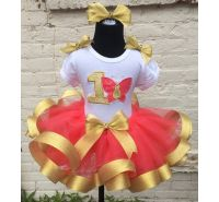 Butterfly Kiss Personalized Coral & Gold Ribbon Tutu 3 Pc. Set