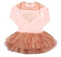 Tulle Shoulder Heart Dress Rose Gold & Blush Ooh La La Couture