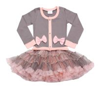 Platinum Gray & Pink Coco Cardigan Dress Ooh La La Couture