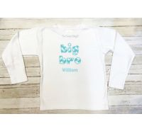 Big Bro or Little Bro Aqua Chevron Personalized Shirt