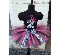 Princess Zebra Hot Pink & Black Personalized Tutu Set
