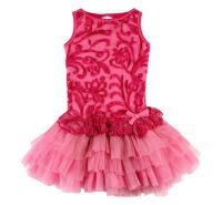 Hot Pink/Candy Pink Embroidered Tulle Peplum Dress with Shrug - Ooh La La Couture