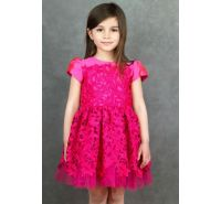 Elegant Girls Dress in Fuschia Lace Halabaloo