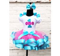 Teal & Hot Pink Glitter Birthday Ribbon Tutu
