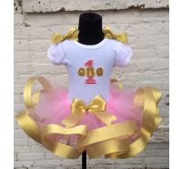 Pink & Gold Glitter Ribbon Tutu & T-Shirt Set Ages 1 2 3 4 5